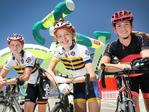 People enjoying the Santos Festival of Cycling in Victoria Square, Adelaide on January 14, 2018. Friends, (LtoR) Grace Seppelt, 14, of Hawthorn, Eloise Sandow, 14, of Stirling, and Jacqueline Voltz, 13, of Mt. Barker, have entered to ride in the BUPA Challenge. (AAP IMAGE/Dean Martin)