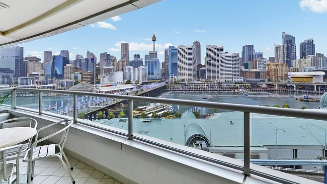 The view was the biggest selling point for this two-bedroom apartment at 703/50 Murray St, Pyrmont, which sold for $1.12 million. NSW real estate.