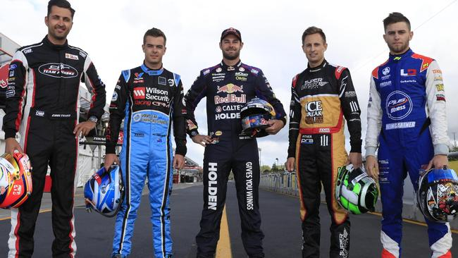 Kiwi V8 drivers Fabian Coulthard (Ford), Scott McLaughlin (Volvo), Shane Van Gisbergen (Holden), Chris Pither (Ford), Andre Heingartner (Holden). Picture: Supercars Australia