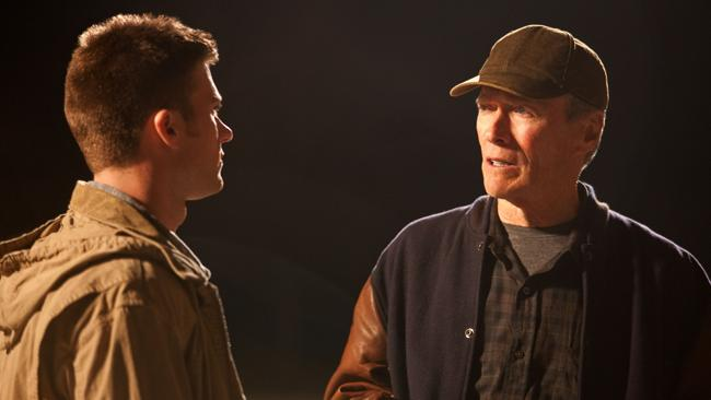 Scott Eastwood and Clint Eastwood in the 2012 film, Trouble with the Curve. Picture: Supplied