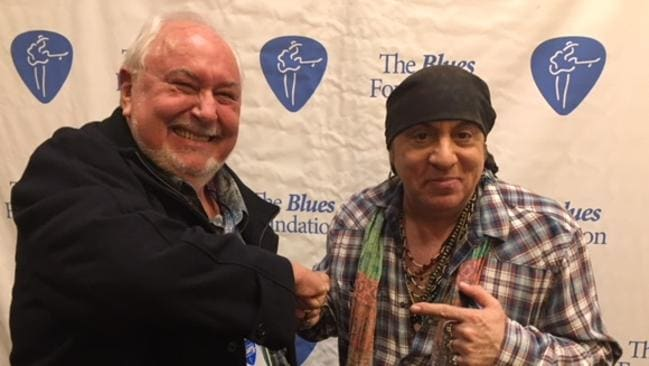 Bluesfest director Peter Noble and guitarist and actor Steve Van Zandt at The Blues Foundation event in Memphis, Tennessee, where Mr Noble received his Keeping the Blues Alive Award