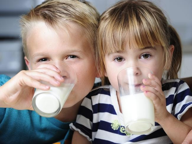 Nothing to fear ... Jonny and Grace Yull get their calcium fix. Picture: Mark Brake