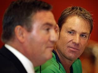 Shane Warne, new captain of the Melbourne Stars Big Bash League team and their president Eddie McGuire at todays press conference
