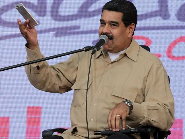 Venezuelan President Nicolas Maduro speaks during an appearance in Caracas. Picture: AFP
