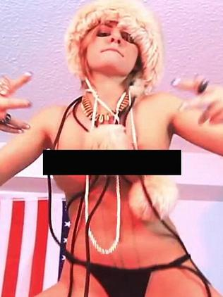 Gabi Grecko appears almost fully nude in the film clip.