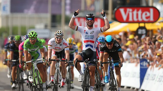 Mark Cavendish of Great Britain and Team Omega Pharma-Quick Step celebrates his win at the end of stage five.