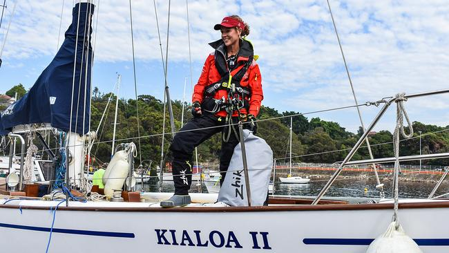 Lisa Ratcliff aboard Kialoa II as she prepares for her first Rolex Sydney-Hobart race