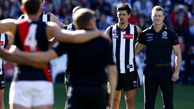 Collingwood and Essendon players before the Anzac Day clash. Picture: Michael Klein