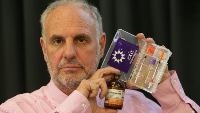 "Euthanasia advocate ... Dr Philip Nitschke pictured with a Euthanasia Drug Test Kit and an empty bottle of ""Pentomax"" known also known as Nembutal"