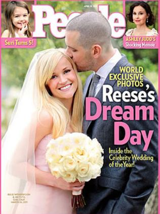 Reese Witherspoon in a pink dress on the cover of People magazine.