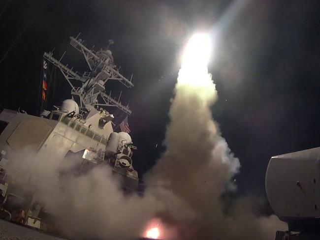 Trump ordered the attack on Syria after a chemical attack killed dozens of people, including children. Picture: US Navy