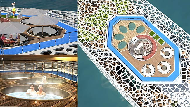 The boat will include a sky lounge, hot tubs, a swimming pool and golfing green. Picture: Kim Hyun-Seok