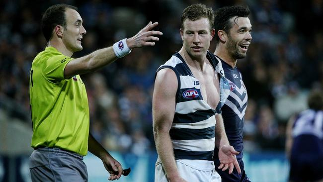 Steve Johnson and Ryan Crowley had lots of fun at Simonds Stadium ... Picture: Colleen Petch