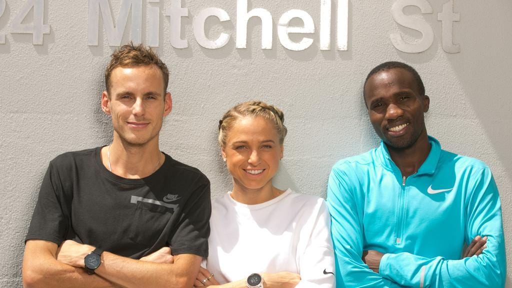 Competing in the million-dollar Mitchell St Mile are (from left) Ryan Gregson, Genevieve LaCaze and Silas Kiplagat. Picture: GLENN CAMPBELL