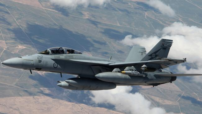 An F/A-18F Super Hornet from No. 1 Squadron in the skies over Iraq.