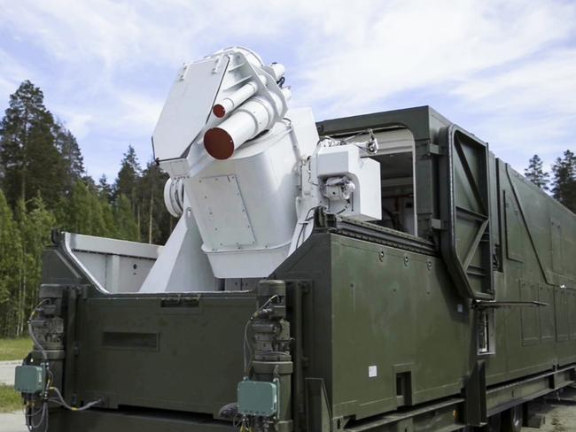 Image claims to show a Russian military truck with a laser weapon mounted on it is shown at an undisclosed location in Russia. Picture: RU-RTR Russian Television via AP
