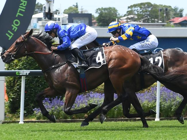 Ours To Keep wins the Phelan Ready Stakes at Doomben. Picture: Grant Peters, Trackside Photography