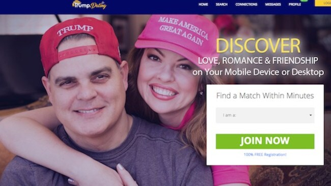 The home page for Trump Dating.