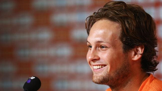 Daley Blind of the Netherlands smiles during a press conference.