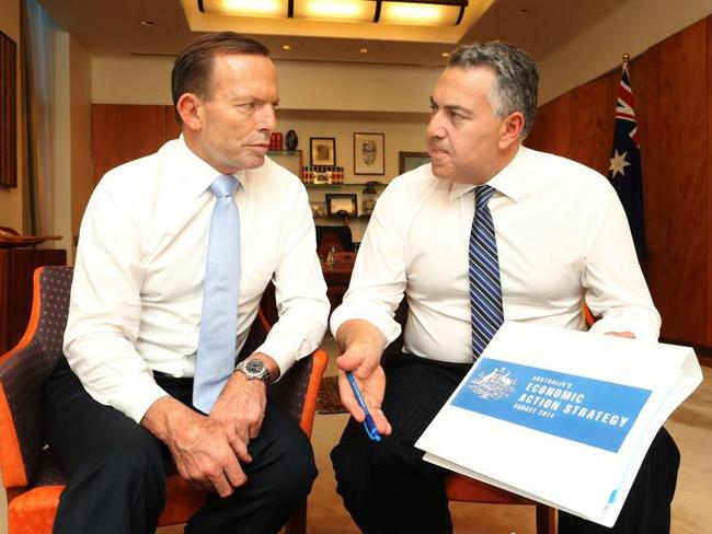 Trouble ahead ... Prime Minister Tony Abbott and Treasurer Joe Hockey in the Prime Minister's office prior to the Budget release. Picture: Gary Ramage