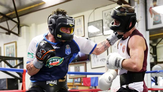 Daniel Geale and Jarrod Fletcher spar at Fortitude Boxing..