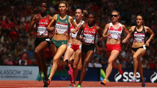 Zoe Buckman leads the field during the heat of the 1500m in which she eventually finished sixth.