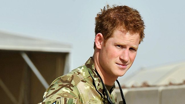 Prince Harry gives a thumbs up after seeing the Apache flight-line at Camp Bastion in Afghanistan. Picture: AP