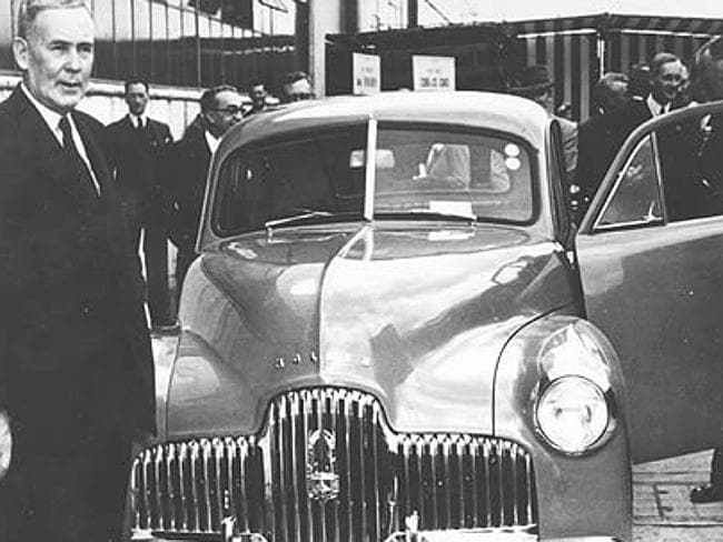 Australian Prime Minister Ben Chifly introducing 'Australia's Own Car' in 1948. Source: The Advertiser.