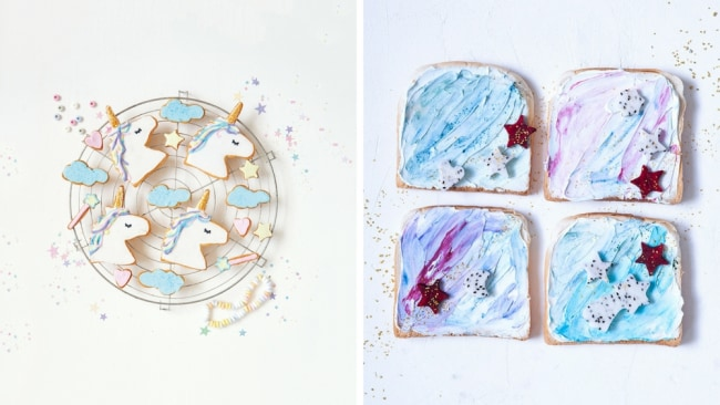 Unicorn cookies and unicorn toast from 'Unicorn food'. Photo: Supplied