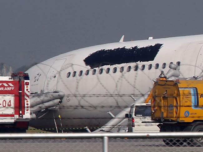The damaged head section of the plane. Picture: AP