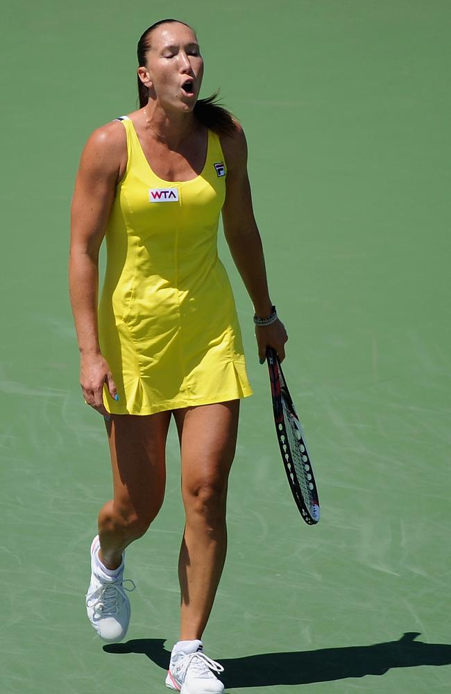 Jelena Jankovic lets her frustration out in her loss to Serena Williams.