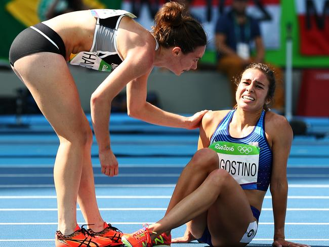 New Zealander Nikki Hamblin and American Abbey D'Agostino were awarded a special Olympic medal for the incredible sportsmanship they showed after the Kiwi tripped and knocked her US rival over, helping each other to the finish line. They embraced afterwards, when D'Agostino discovered she had torn her anterior cruciate ligament. Picture: Ian Walton