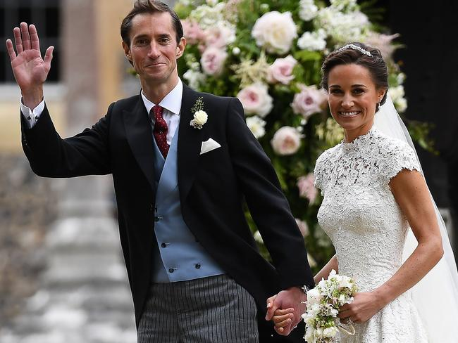 Pippa Middleton and her new husband James Matthews leave St Mark's Church in Englefield. Picture: AFP