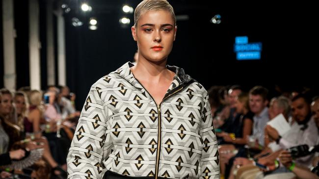 Model Stefania Ferrario at the Aurora Style aGender fashion show held in Sydney. Picture: Dusk Devi Vision