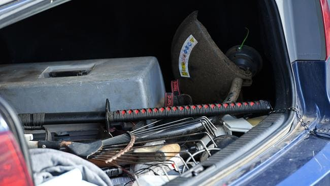 The samurai sword found in the boot of the car. Picture: Tom Huntley.
