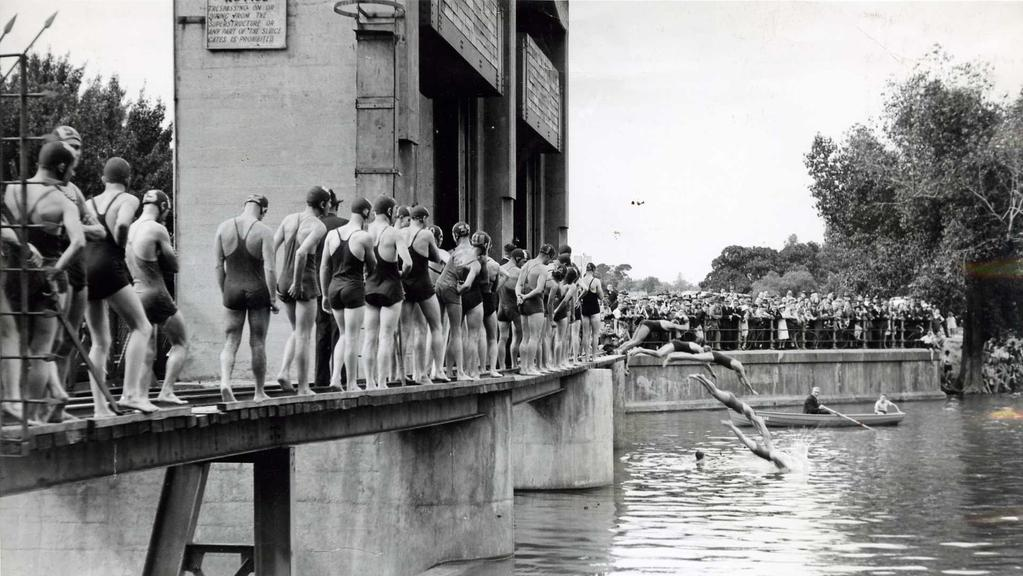 Competitors lined up at the Torrens Weir for the start of the annual swim-through-Adelaide in 1939.
