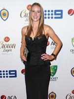 Ellyse Perry on the red carpet arriving at the 2014 Allan Border Medal held at Doltone House at Hyde Park.