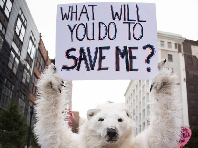 An anti-global warming protester holding up a placard in Cleveland, Ohio, near the Republican National Convention site this month. Picture: Jim Watson