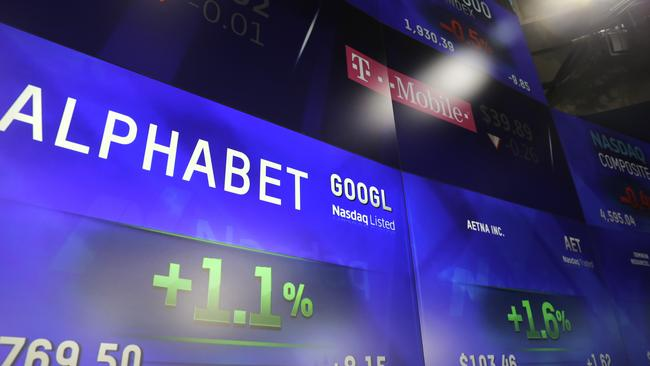 Electronic screens post the price of Alphabet stock.