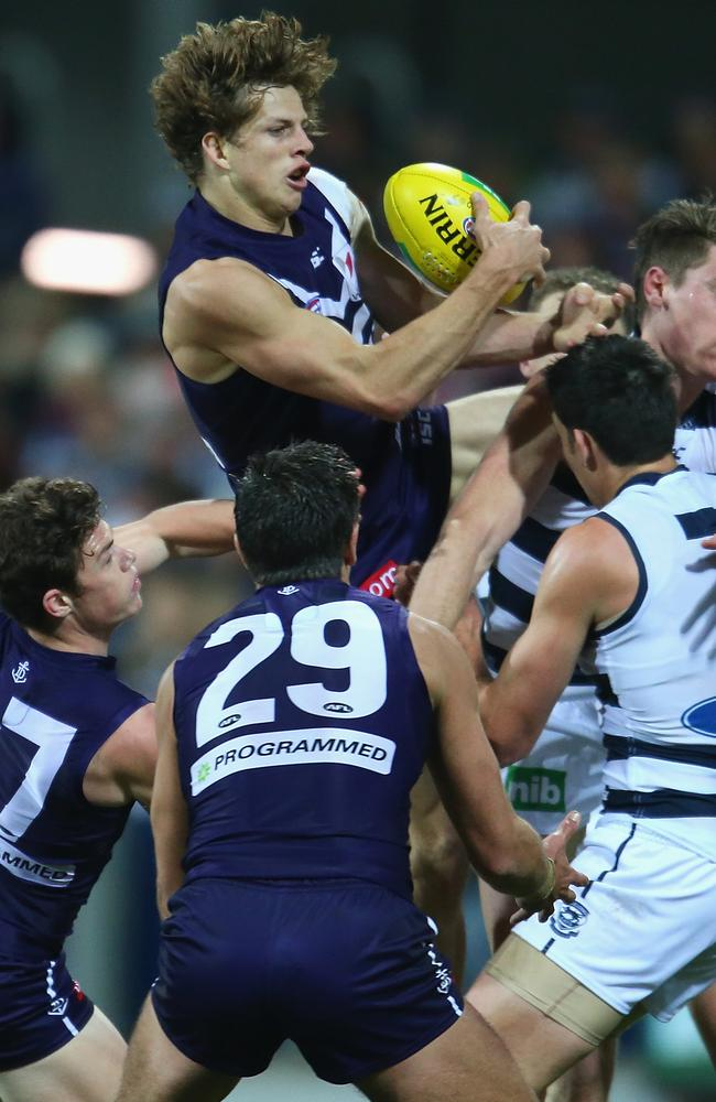 Nat Fyfe takes a mark during the game against Geelong. Picture: Scott Barbour/Getty Images