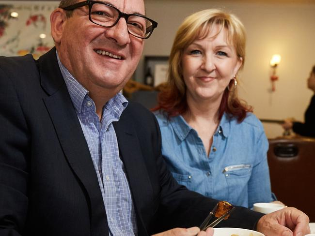 Steve Georganas, pictured at a restuarant with wife Wendy, is hoping to take Hindmarsh back from Liberal Matt Williams, who won the seat from him by 1.9 per cent margin in 2013. Picture: Matt Loxton