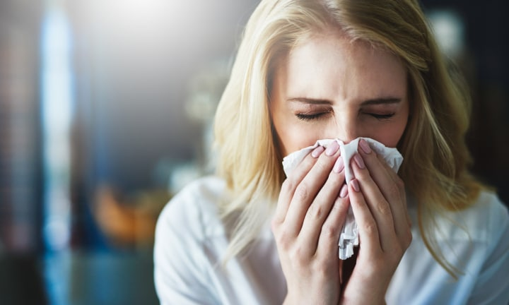 <b>7. STUFFY SNOZ.</b>  <p>Although mum, Nina didn't actually know that she was pregnant, she figured it out once the cold she was complaining about ended up lasting nine months. Gotta love pregnancy sinuses!</p>  <p><i>Image: iStock.</i></p>