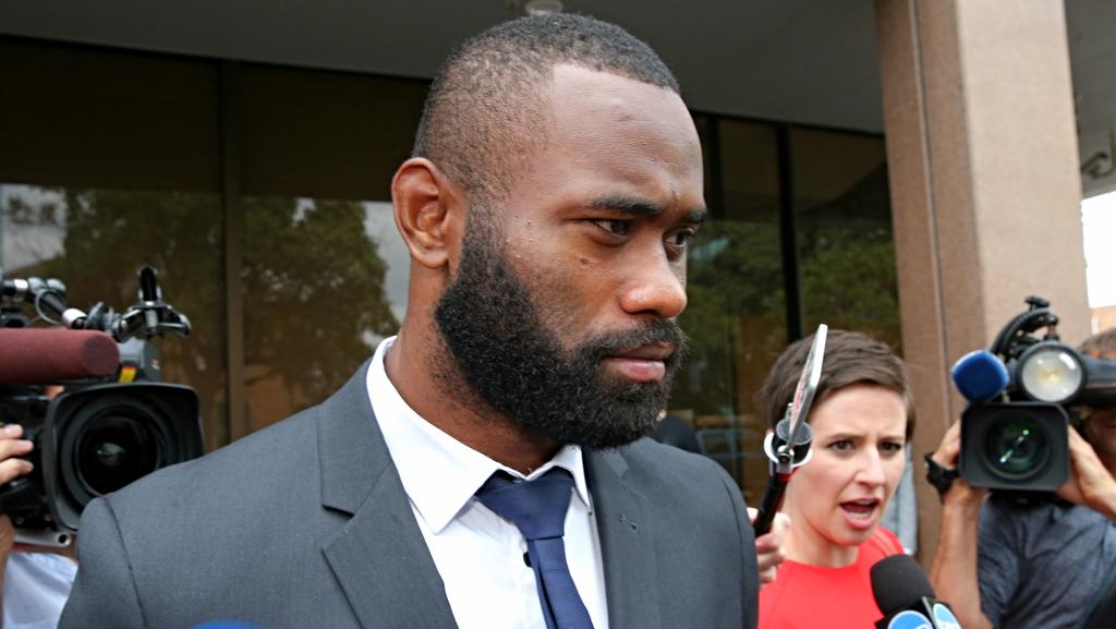 Semi Radradra arriving at Parramatta local court.