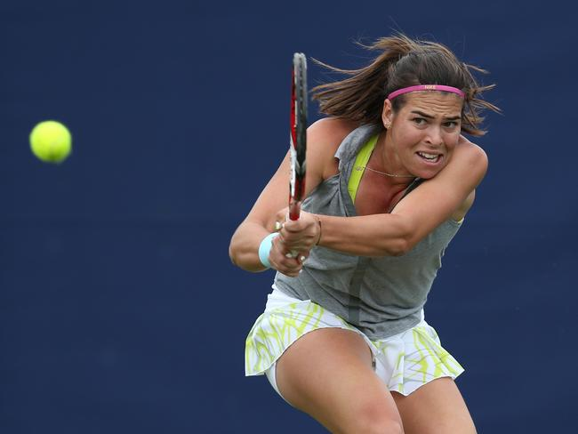 Ajla Tomljanovic plays a backhand at the Aegon International in June.
