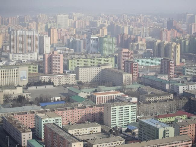 Buildings are seen in the morning light from the top of the Juche Tower in Pyongyang, North Korea. Picture: AP