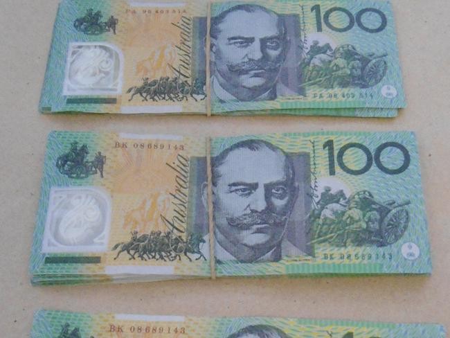 Examples of counterfeit $100 banknotes that were circulating around Sydney in 2014.