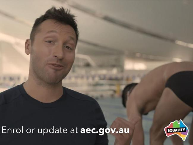 Ian Thorpe and his partner Ryan Channing in their marriage equality video. Picture: Supplied