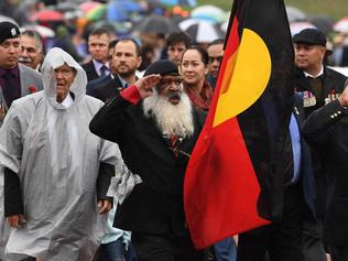 Aboriginal War Veterans participate in the ANZAC Day march at the Australian War Memorial in Canberra, Tuesday, April 25, 2017. (AAP Image/Lukas Coch) NO ARCHIVING