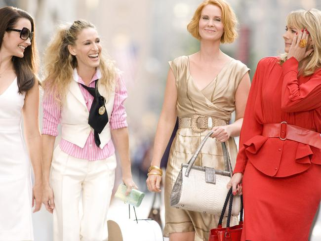 Kirstin Davis, Sarah Jessica Parker, Cynthia Nixon and Kim Cattrall in a scene from the 2008 film  <i>Sex and the City</i>. Picture: Supplied