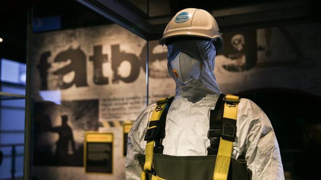 A sewage worker uniform is seen on display at the fatberg exhibition at the Museum of London. Picture: AFP Photo/Daniel Leal-Olivas